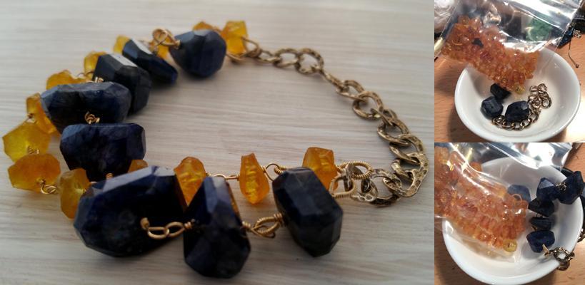 Vintage amber, labradorite & 14 kt gold filled bracelet