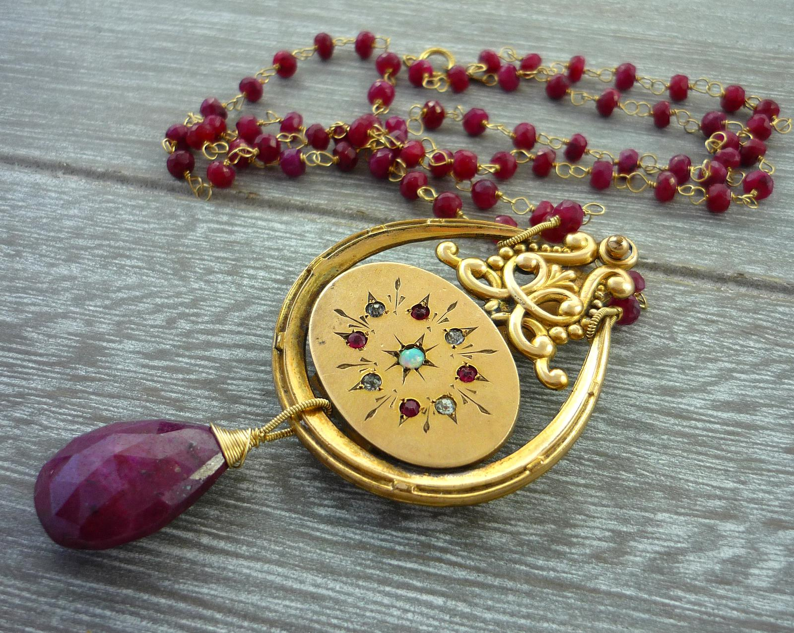 Antique jewelled fob charn, ruby briolette, ruby rondelles and 14kt gold wire
