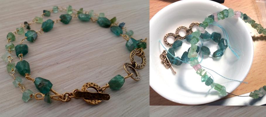 Apatite, vintage Afghani Tourmaline & 14kt gold filled bracelet