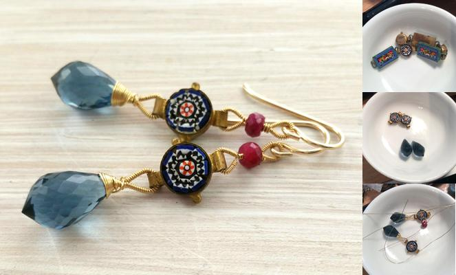 Antique Micro Mosaic, Blue Quartz, Ruby & 14kt gold filled earrings