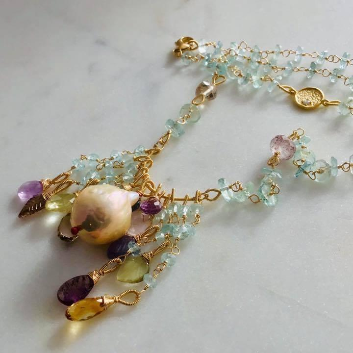Vintage nucleated natural metallic pearl, aquamarine,& gemstone necklace.