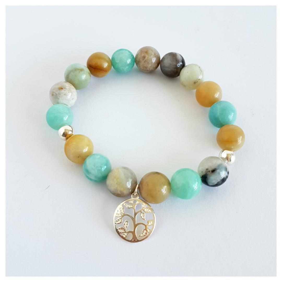 Stirling silver and gemstone bracelets