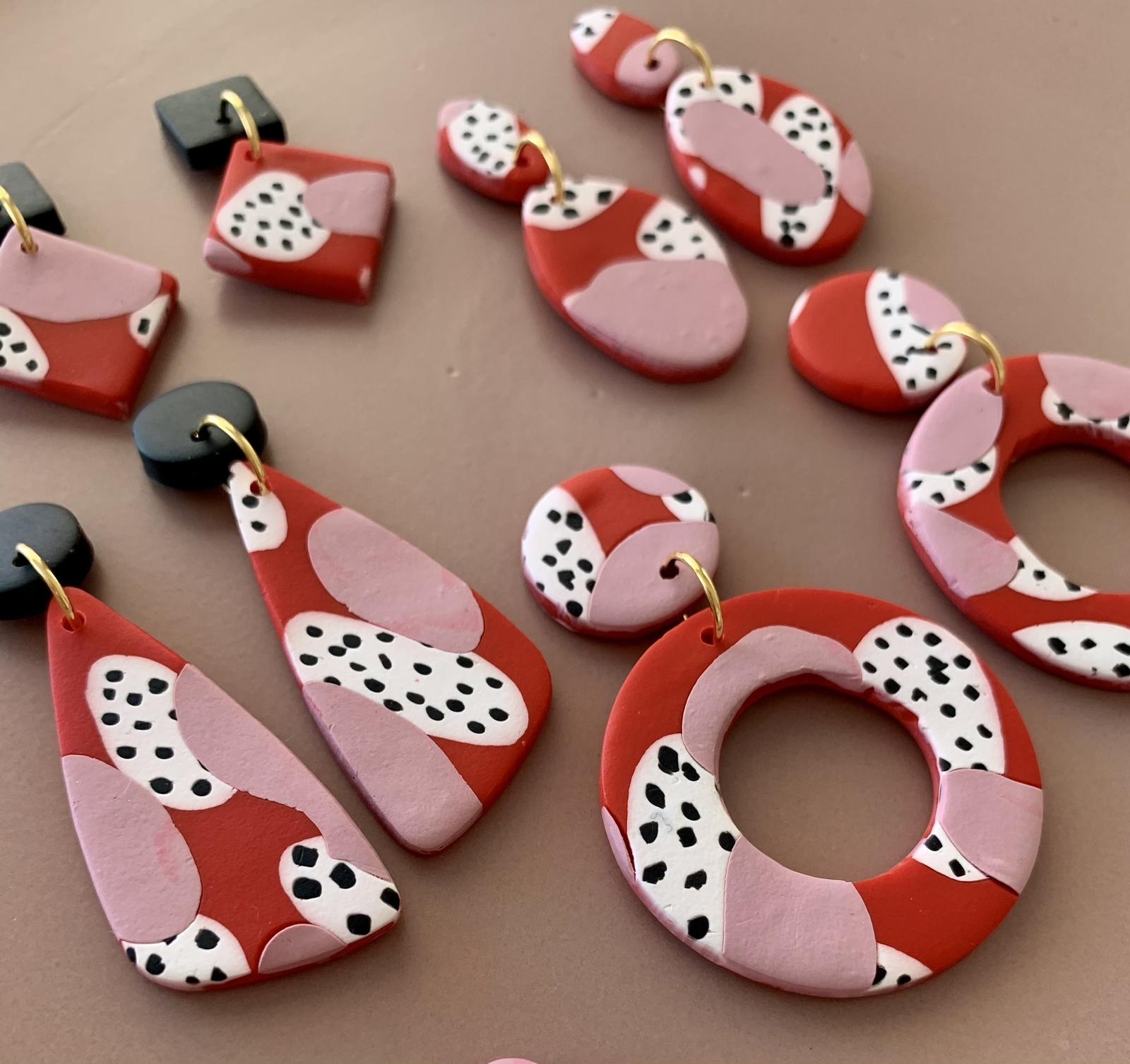 Red & Pink Polymer Earrings