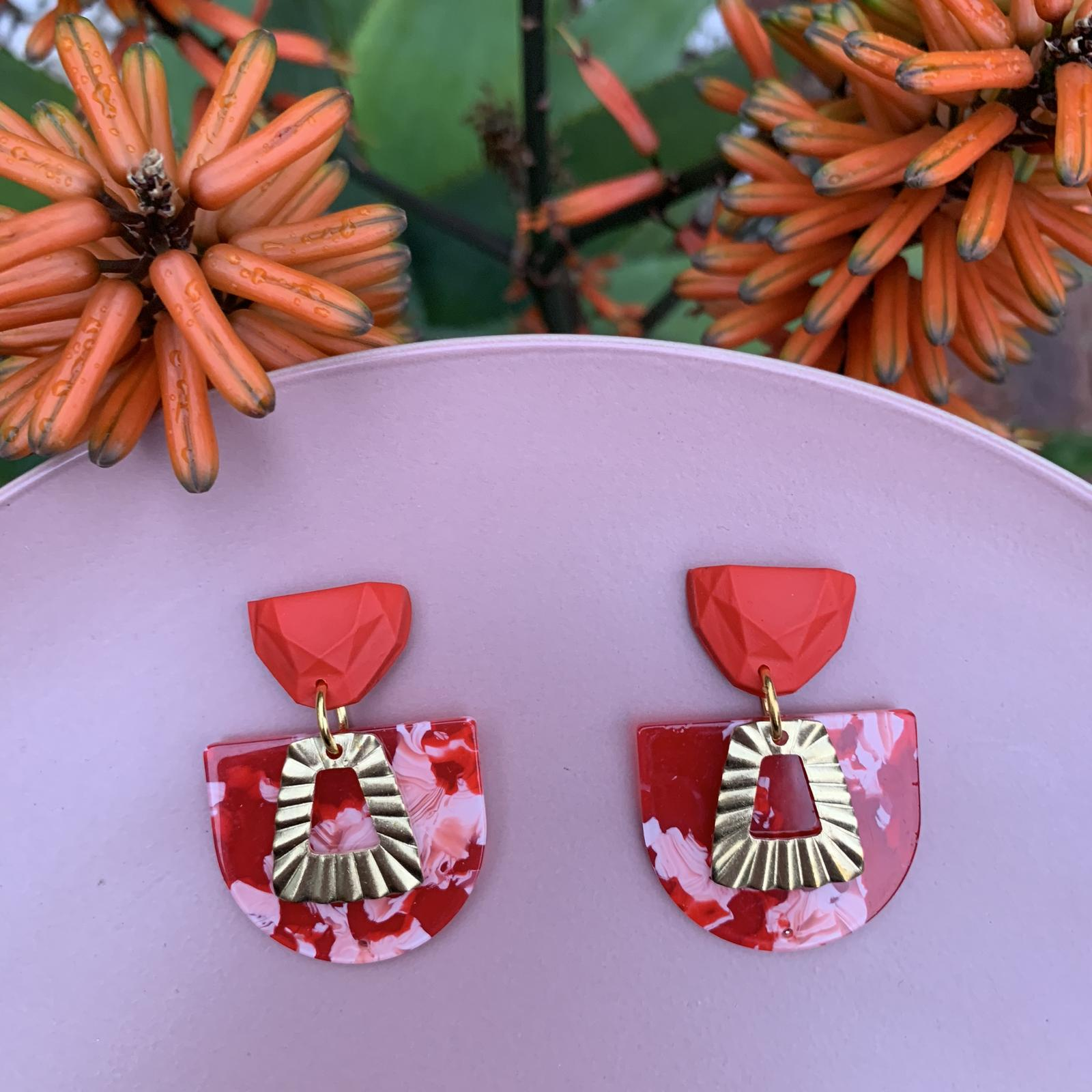 Red & Pink Mixed Media Earrings