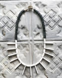 Meraki Designs porcelain and coconut bead necklace