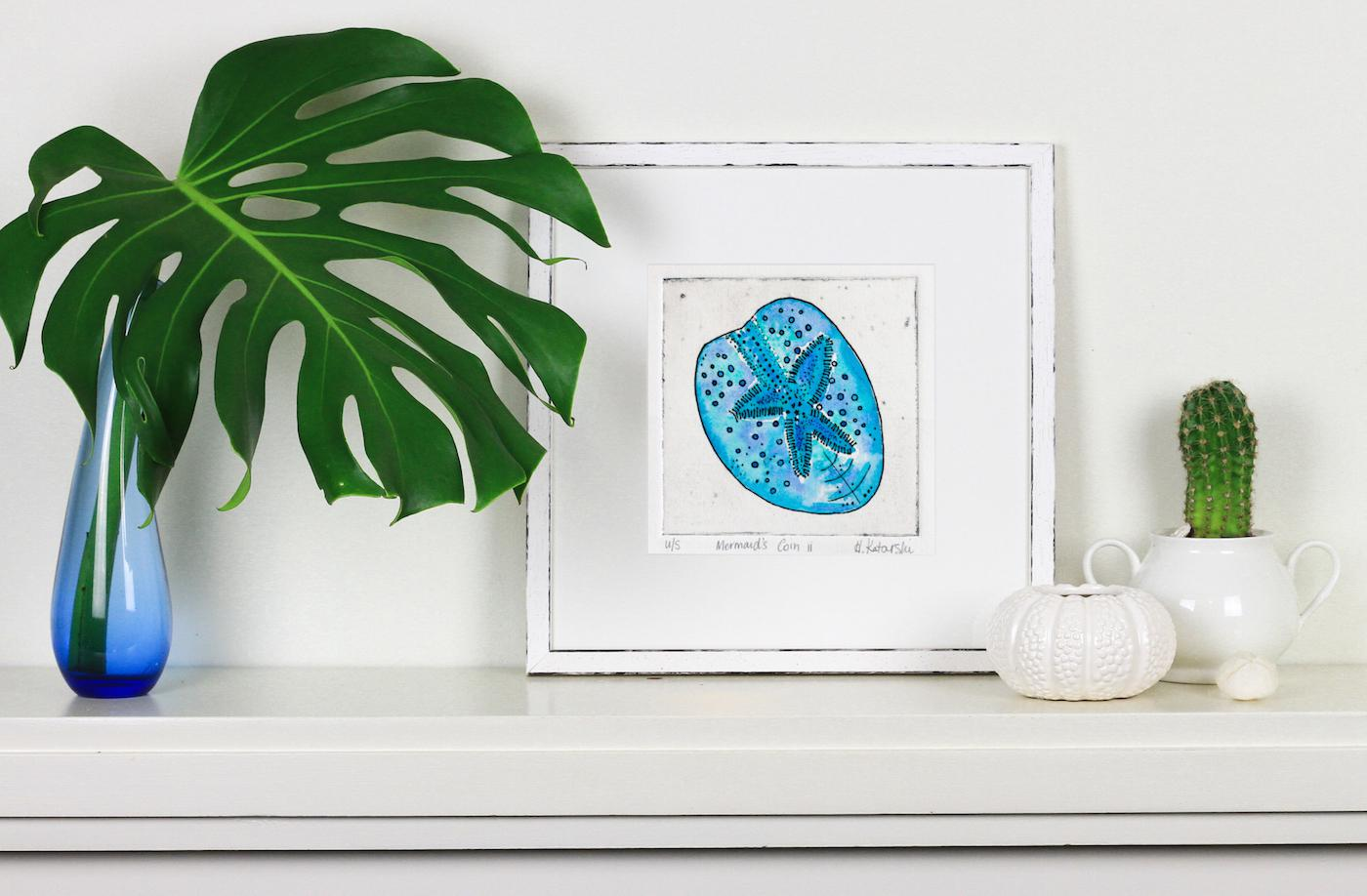 Mermaid's Coin ii - Limited edition drypoint & watercolour original print
