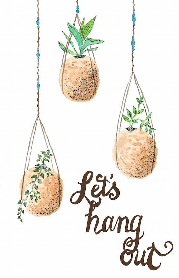 Kokedama greeting card 'Let's Hang Out'