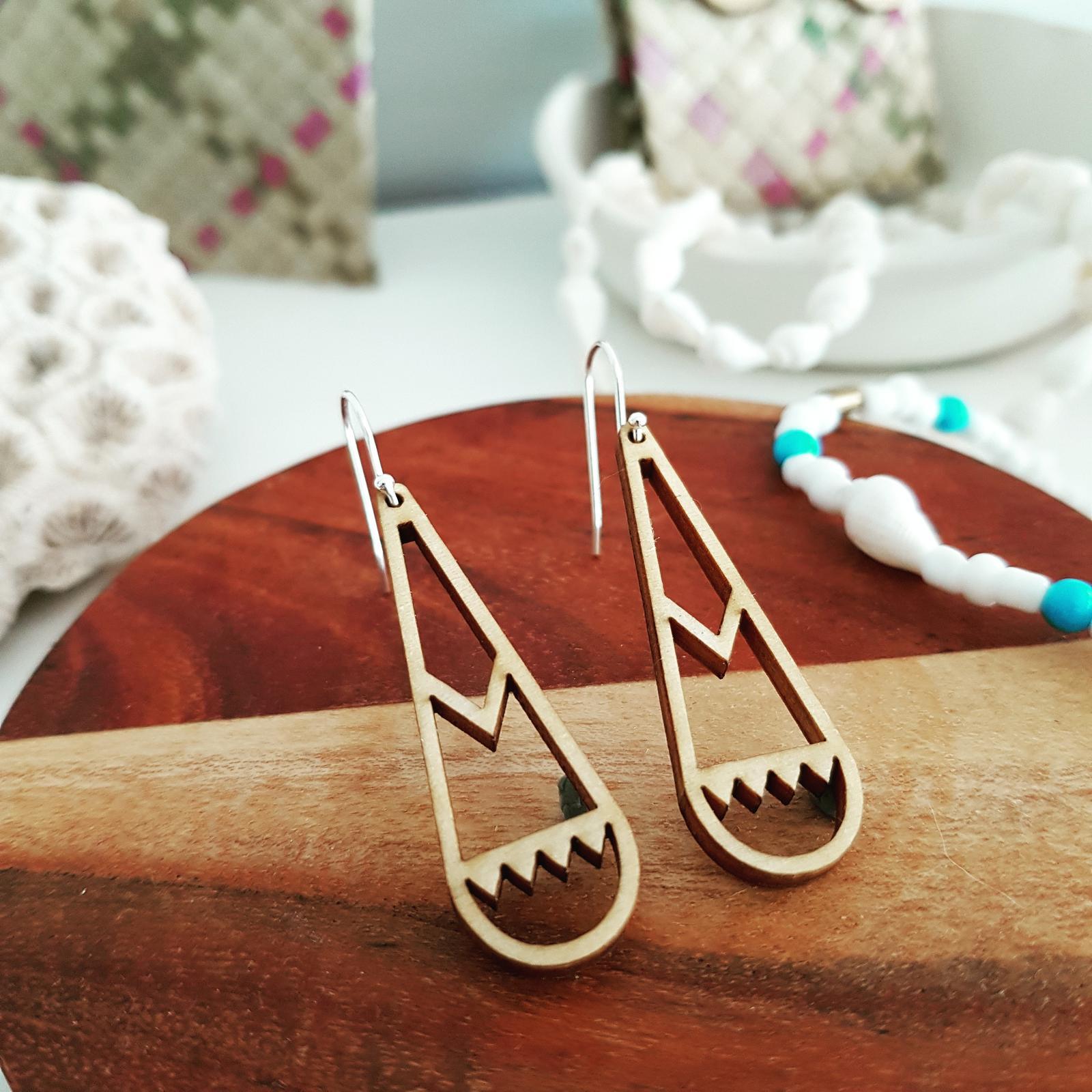 Wood & Silver Earrings
