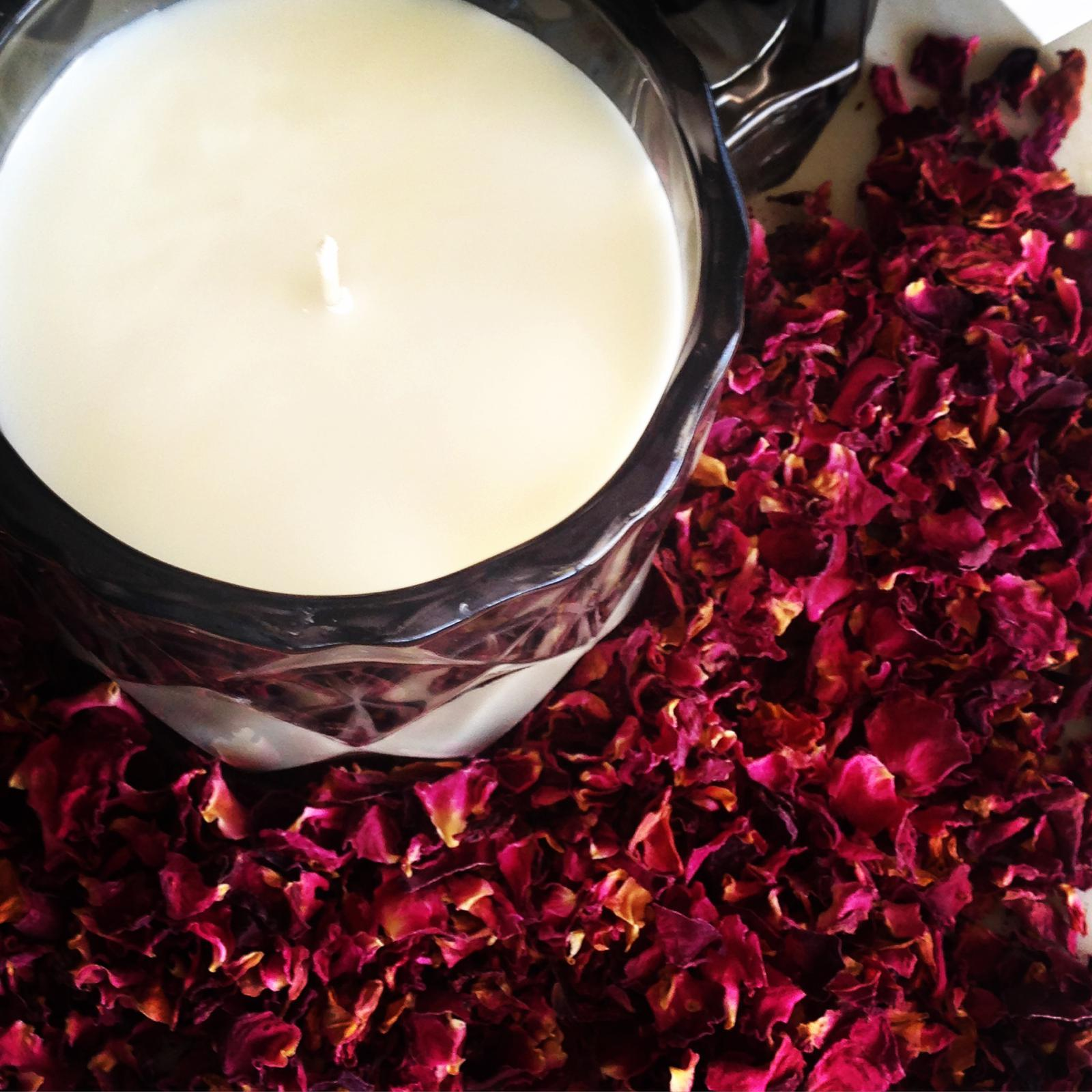 Luxury candles and Organic Rose Bath Salts