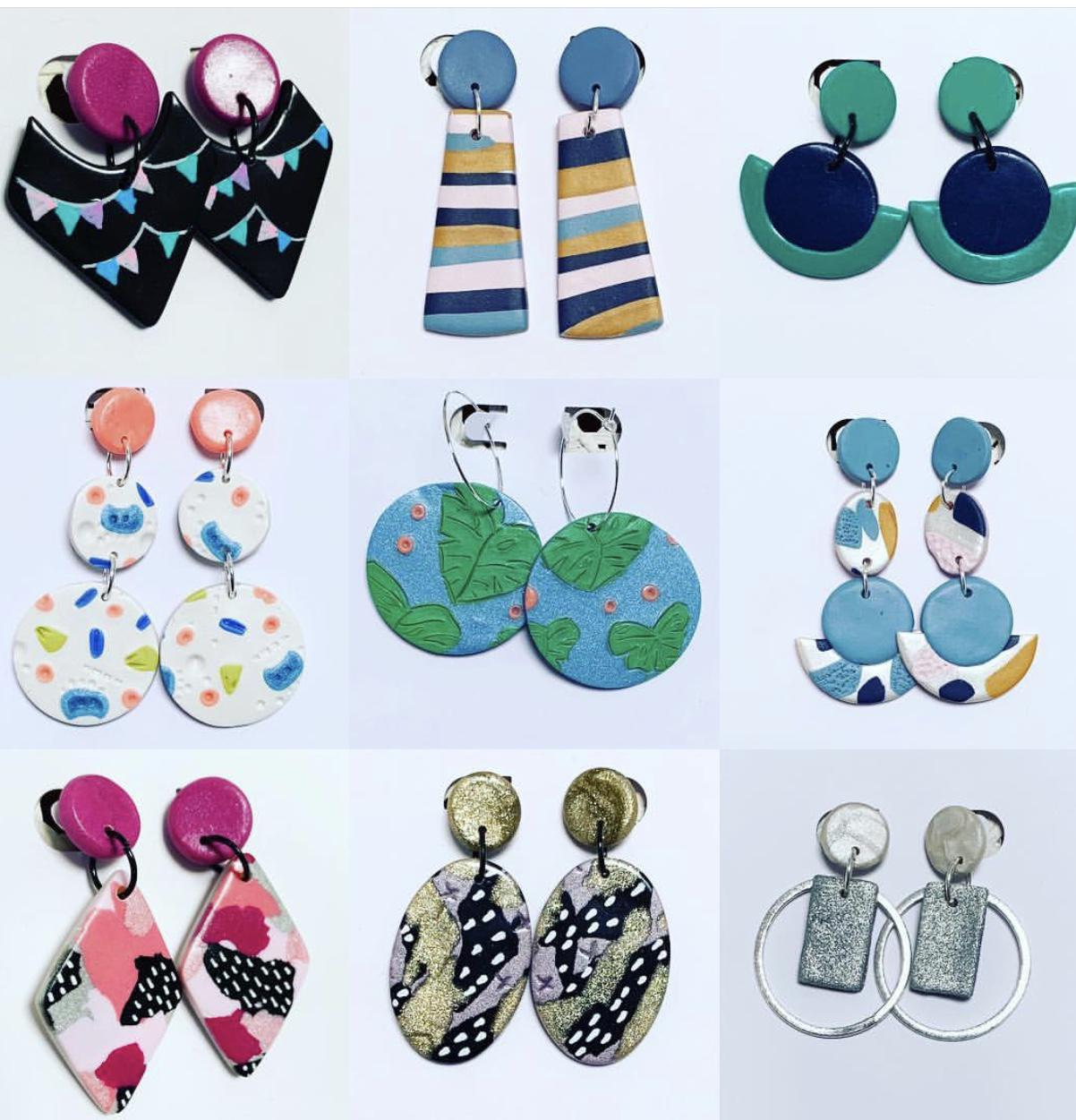 A variety of different earrings