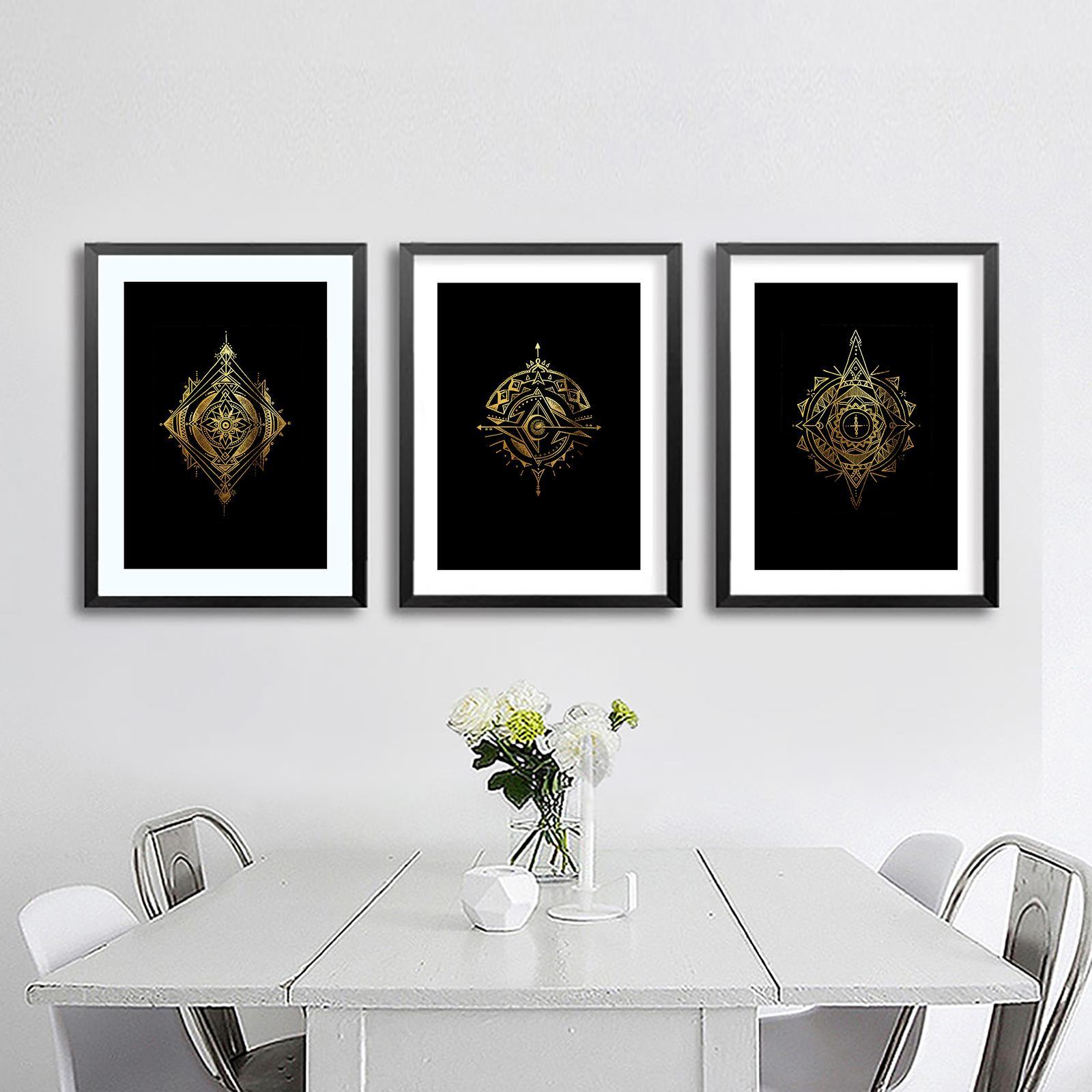 Elder Forrest Series | Gold Foiled Mandala Prints | Set of 3