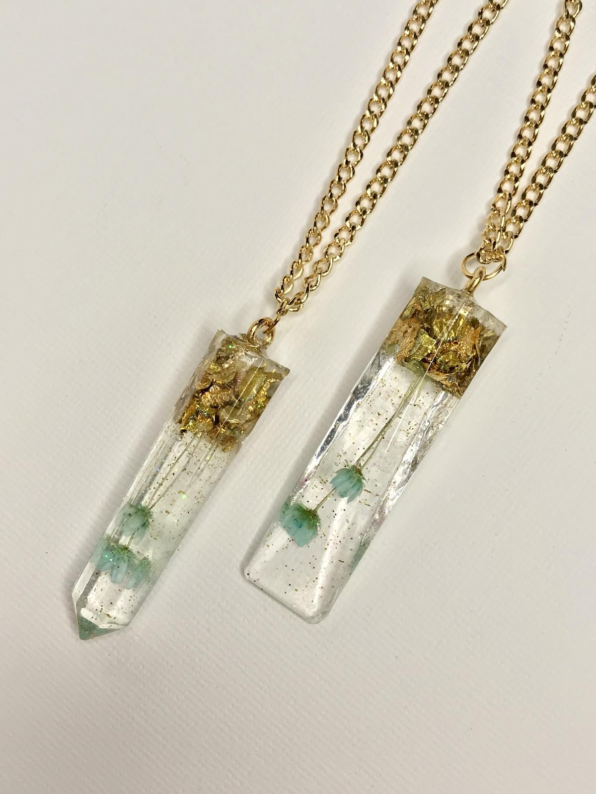 Dried flower crystal necklaces