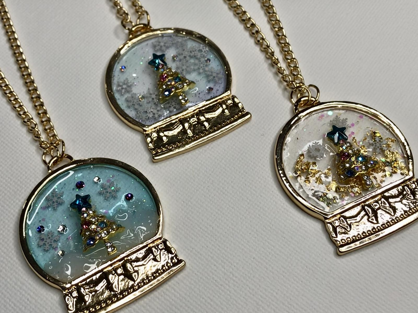 Christmas snow globe necklace