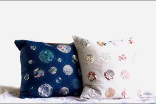 Linen Cushions featuring silk dots and hand-stitching