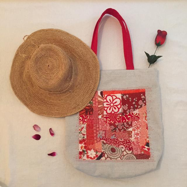 Red Tote Bag w Silk feature & Hand Stitching