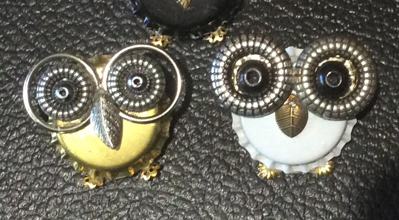 Cute bottle top owl brooches