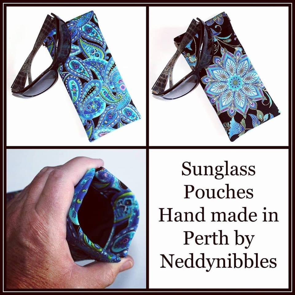 Sunglass Pouches with flexframe openings