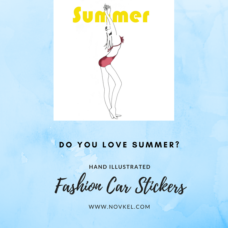 Special summer edition hand illustrated car sticker