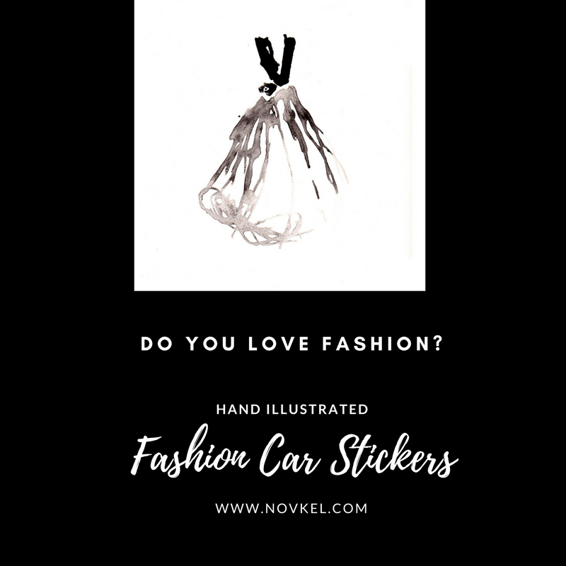 Evening gown hand illustrated car sticker