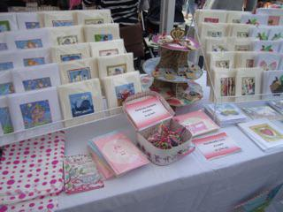 Further images of cards displayed in a craft fair in London, UK