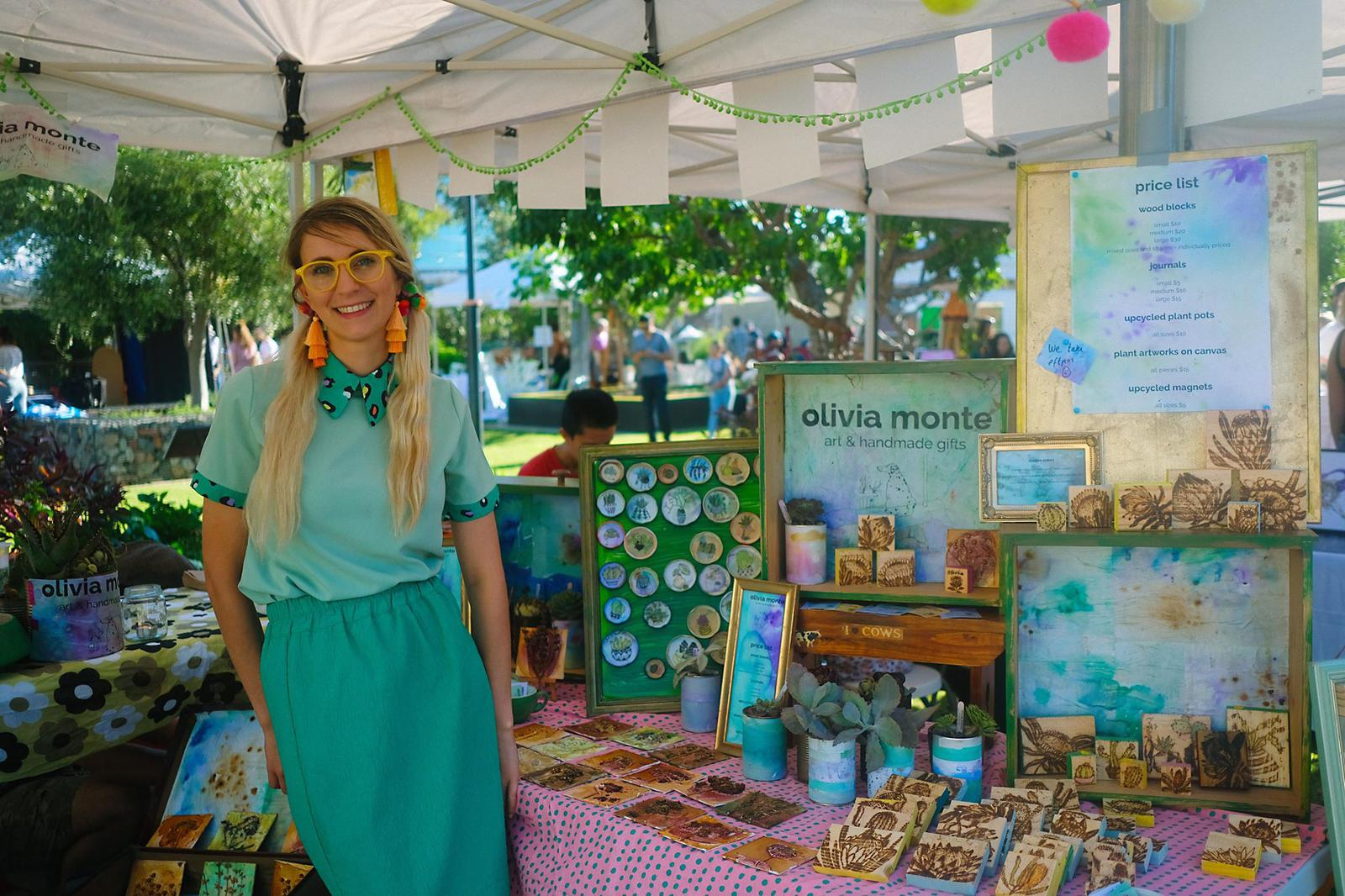 olivia monte artist and stall display