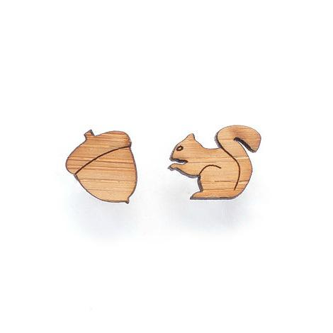 Squirrel and acorn earrings