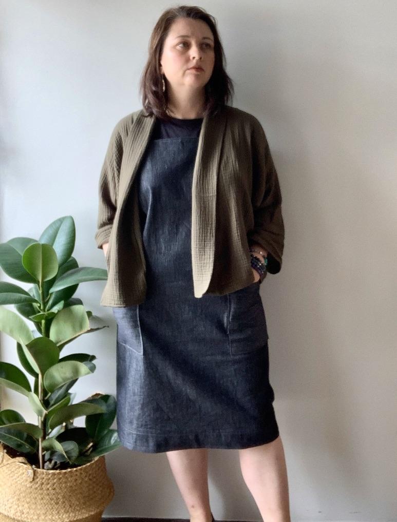 Khaki soft jacket and denim apron dress