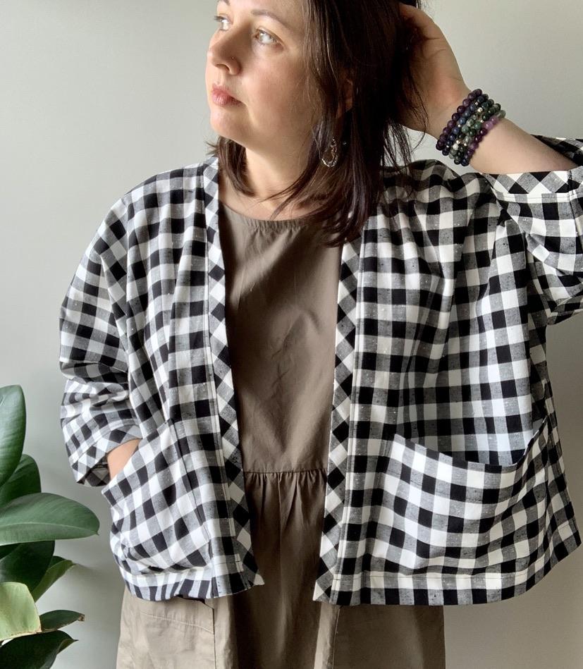 Gingham check boxy jacket