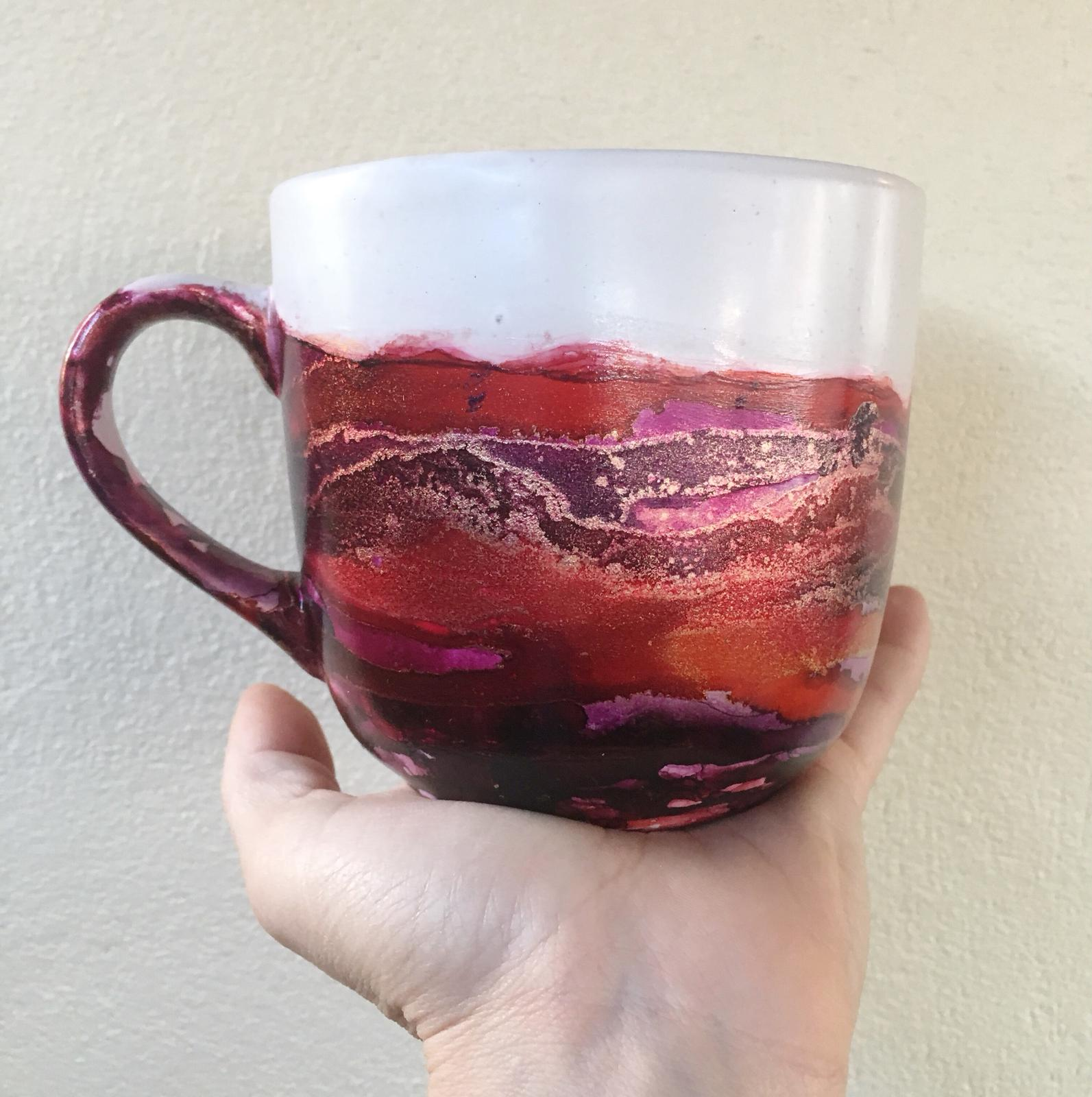 alcohol ink mug - berry series