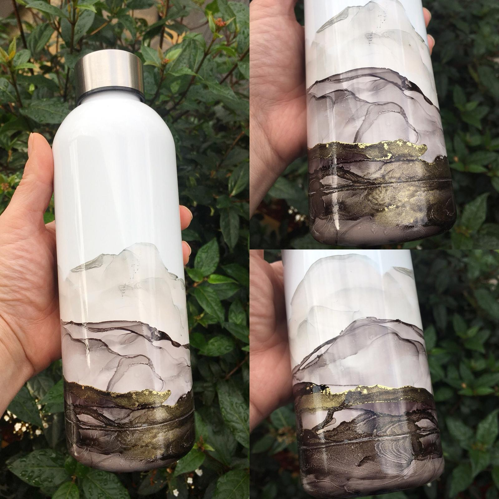 Alcohol Ink Painted water bottle