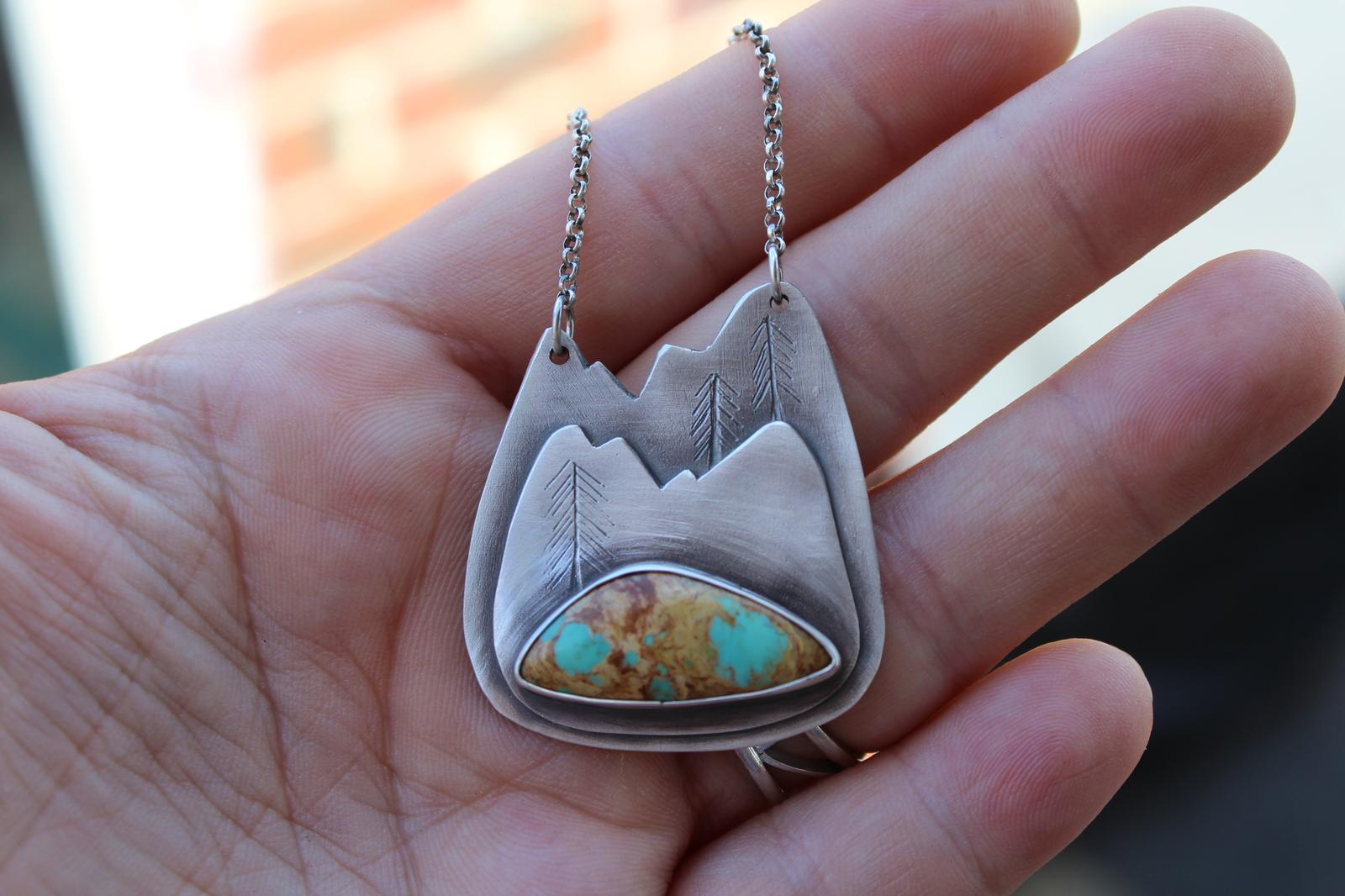 Mountain Necklace with Rising Phoenix Turquoise