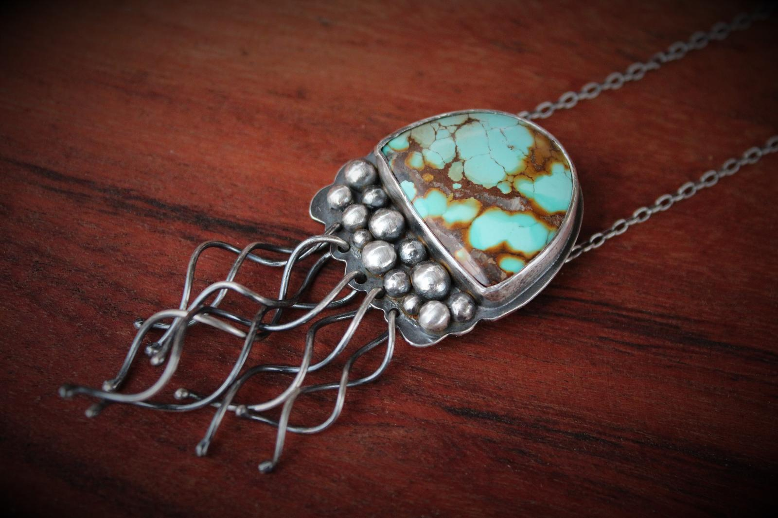 Jelly Fish and Hubei Turquoise Necklace