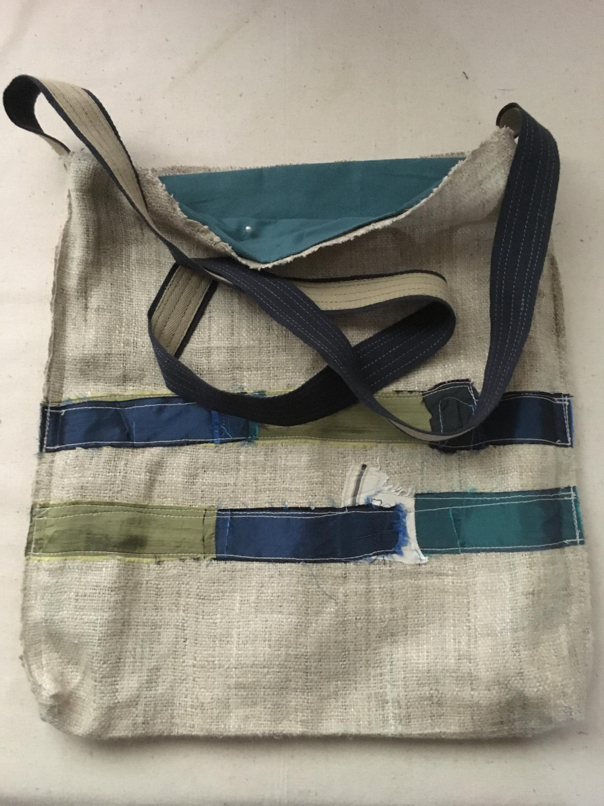 Hemp bag with stitched silk