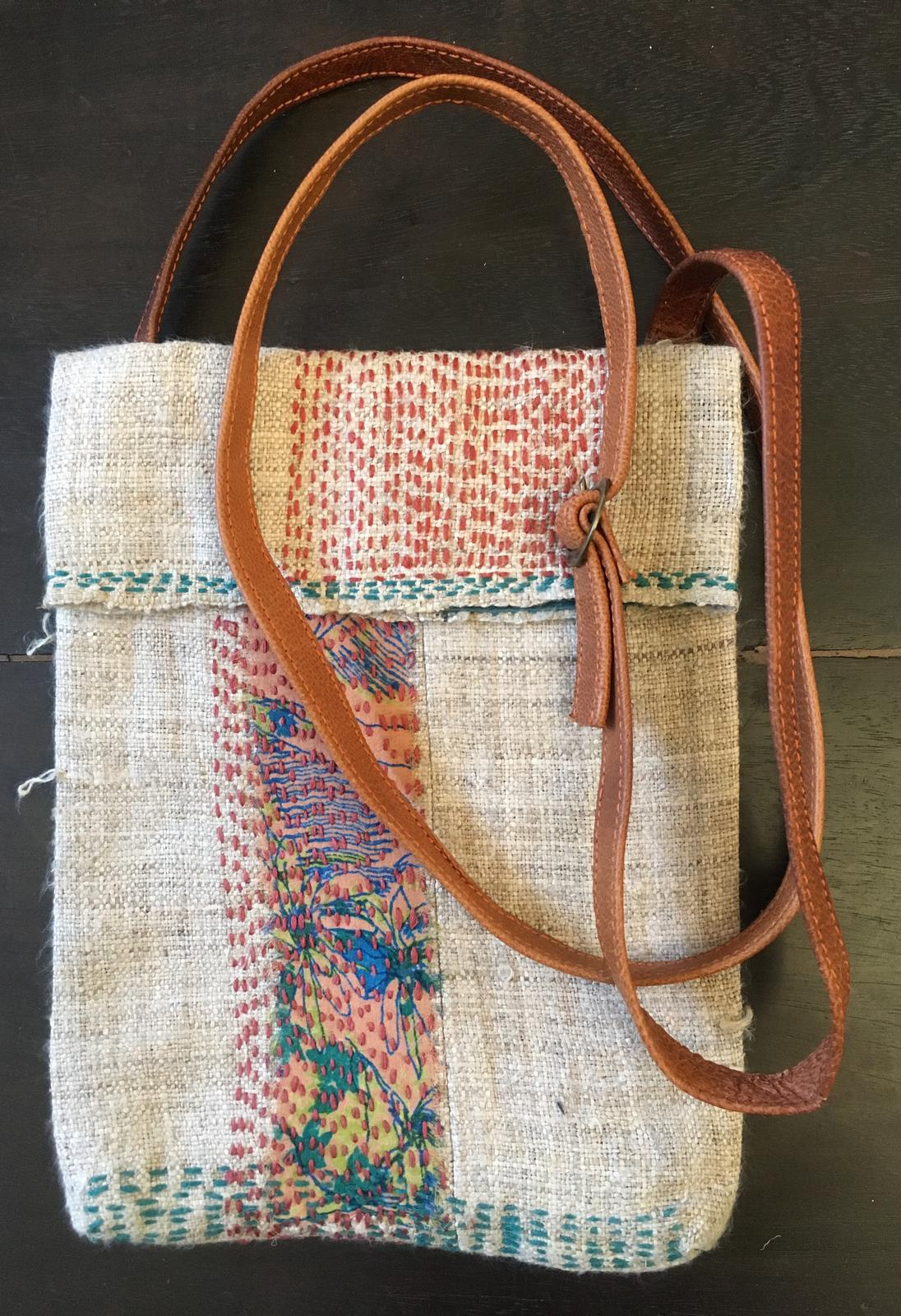 Hemp fabric and handstitched cross-body bag