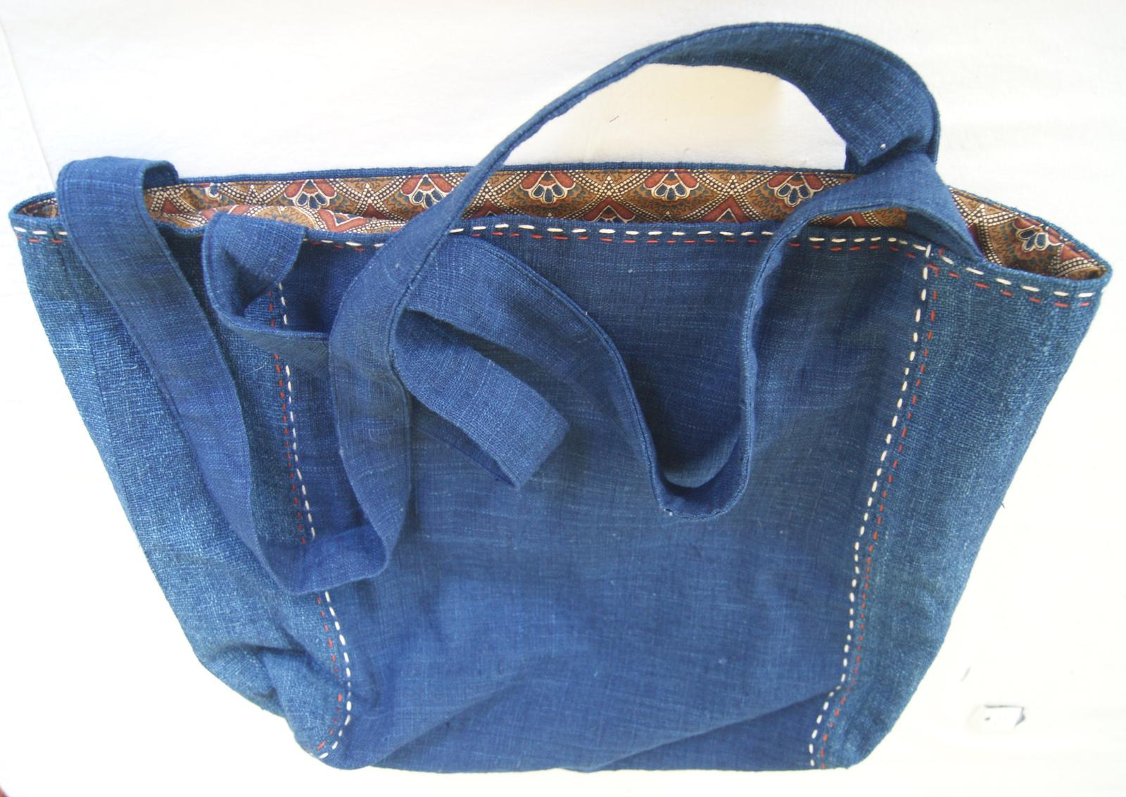 Large indigo fabric bag with hand stitching