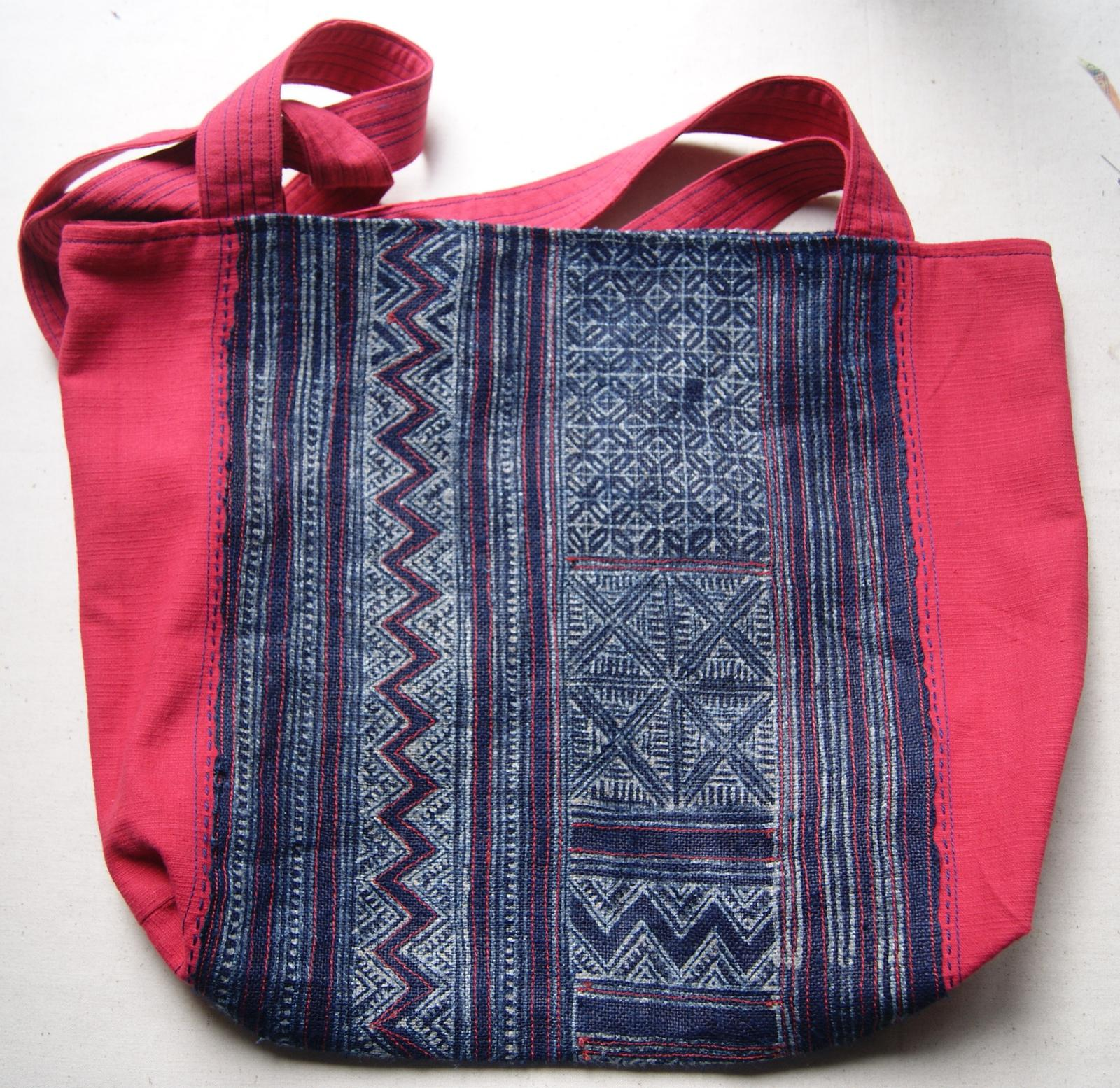 Hmong indigo dyed and handstitched bag - large