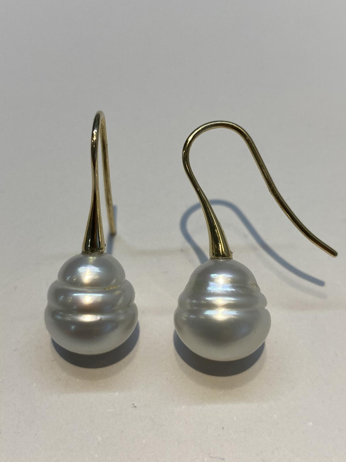 Circle Pearl Drop Earrings
