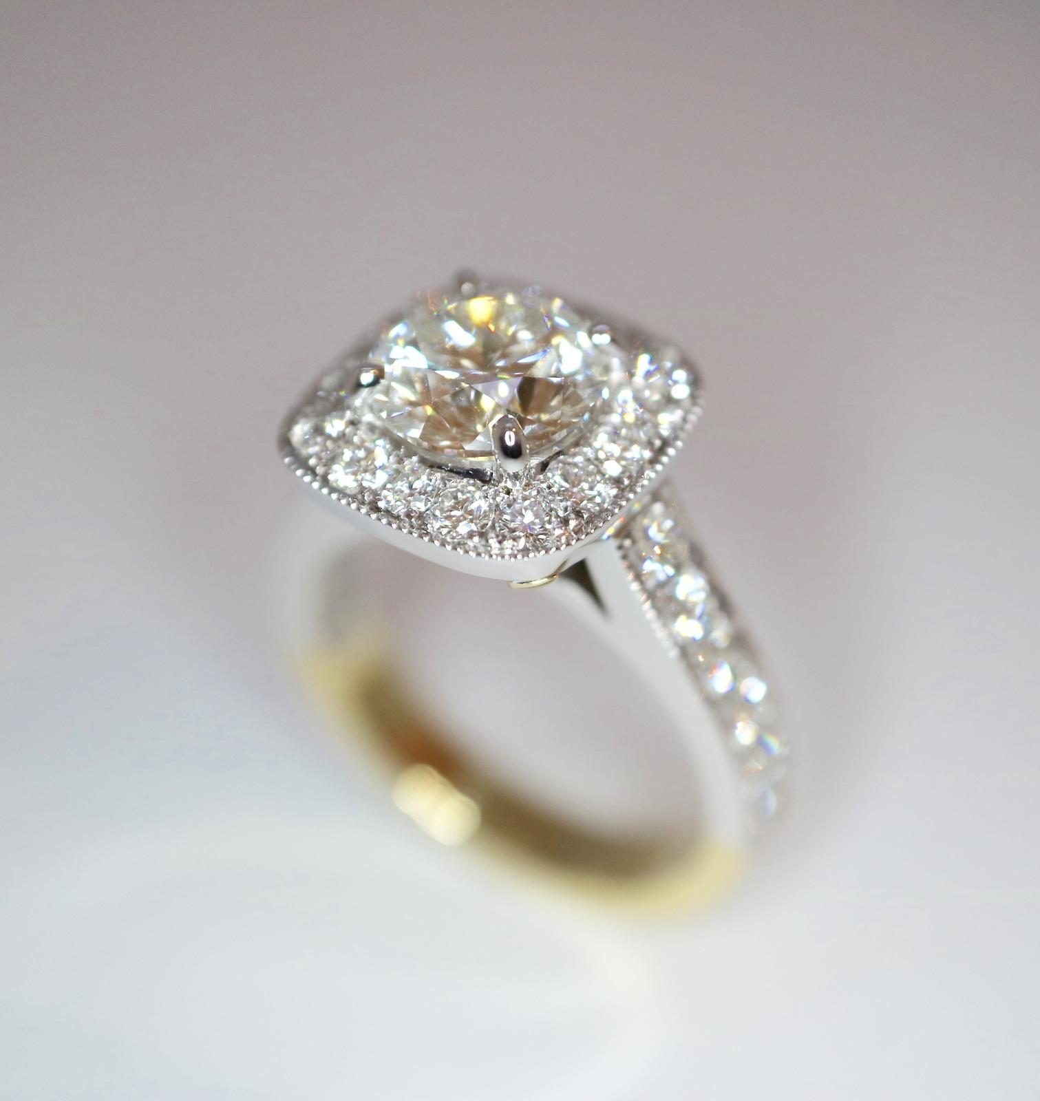 1.8ct centre certified diamond with halo handmade at a fraction of retail price.