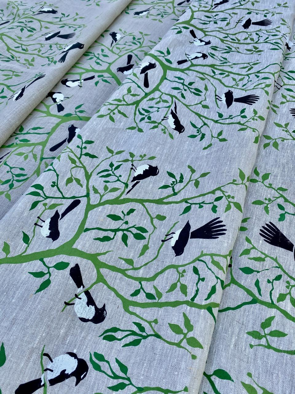 Willie Wagtail hand screen printed linen