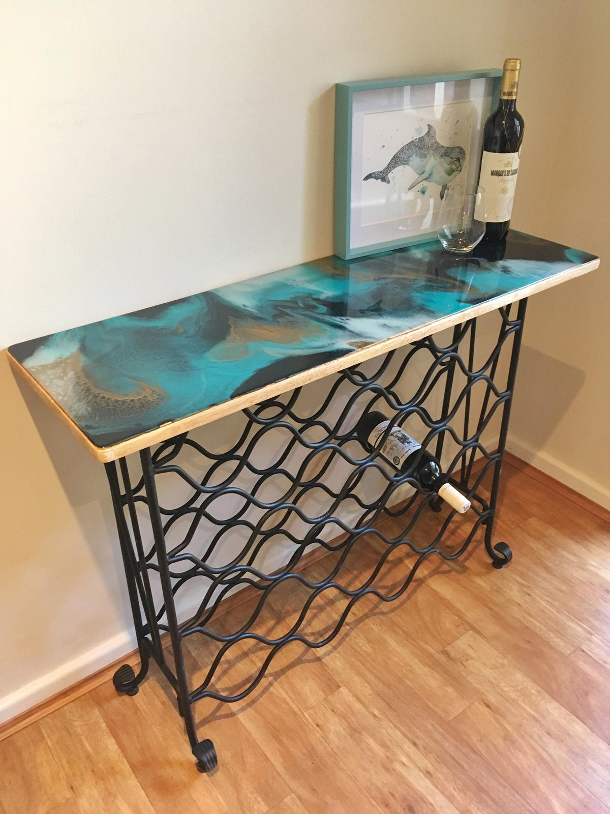 Resin Art Wine Rack in Peacock