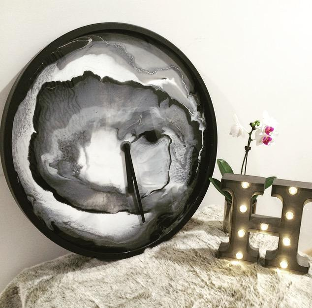 Black and Silver Resin Clock