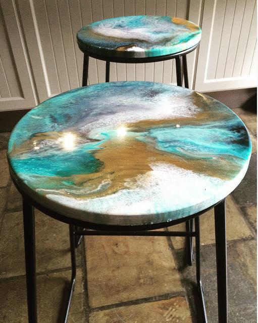 Upcycled Resin Bar Stools