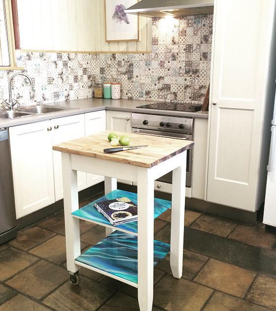 Kitchen Cart with Resin Art Shelving