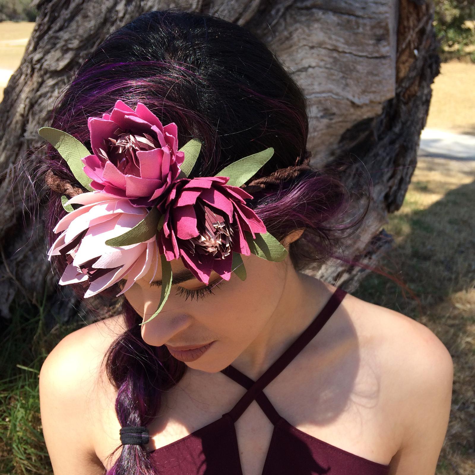Phantom Rose Artistry, Blushing Beauties Protea Paper Flower Crown