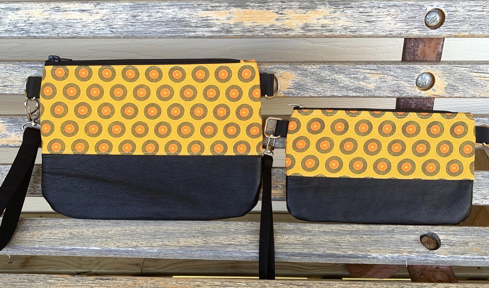 Crossbody Clutches - Upcycled Leather, Shweshwe Cotton