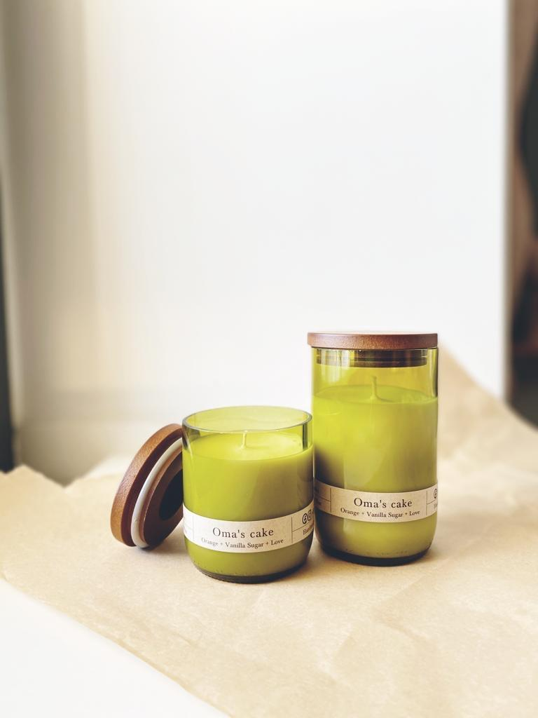 Sustainable Soy Candles in recycled wine bottles