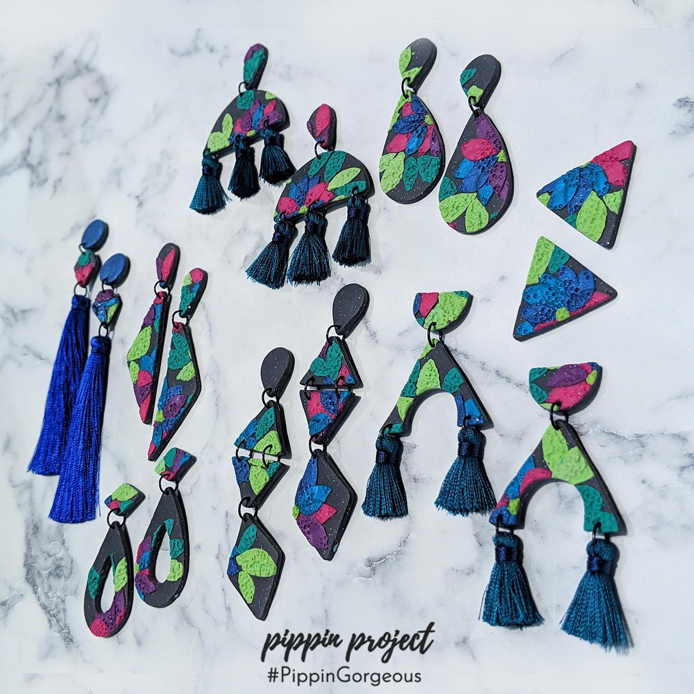 Handpoked Floral Earrings