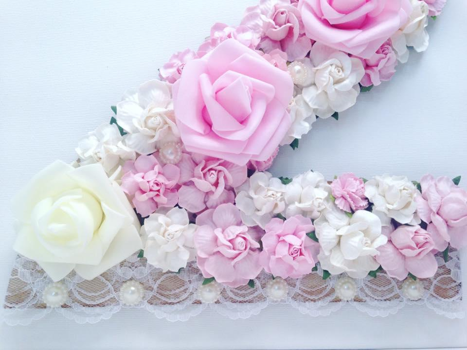 Flower letter or number with lace and pearls