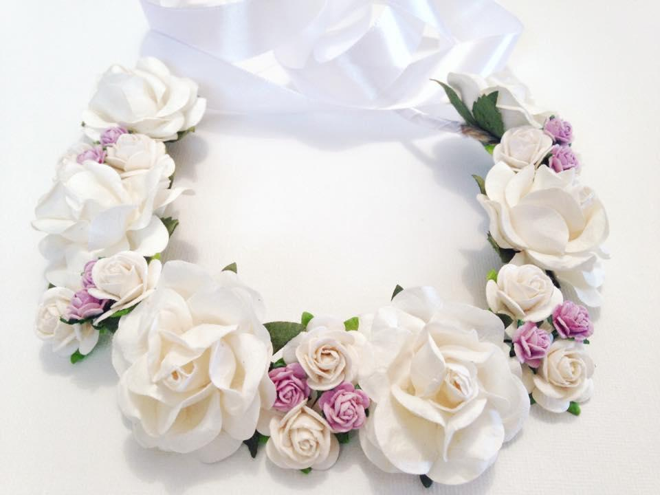 Flower crown with white and a touch of purple