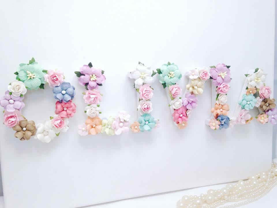 8cm letters with pastel flowers for girls